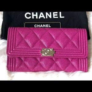 Chanel Iridescent Dark Pink Caviar Medium Wallet